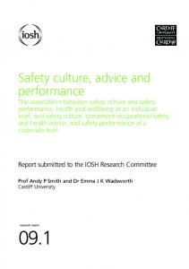 Safety culture, advice and performance - Behavioural Safety