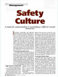 Safety Culture. - Behavioural Safety