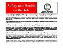 Safety & Health Protection On The Job - Kentucky Labor Cabinet