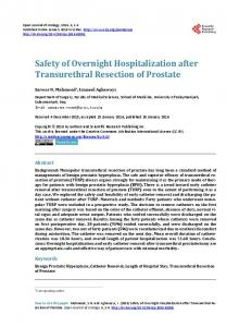 Safety of Overnight Hospitalization after Transurethral Resection of ...