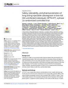 Safety, tolerability, and pharmacokinetics of long-acting ... - Plos