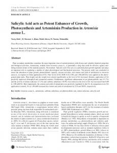 Salicylic Acid acts as Potent Enhancer of Growth ... - Springer Link