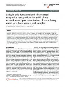 Salicylic acid functionalized silica-coated magnetite ... - BioMedSearch