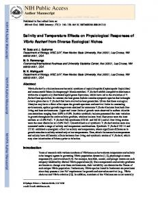 Salinity and Temperature Effects on Physiological Responses of Vibrio ...