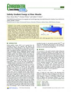Salinity Gradient Energy at River Mouths - ACS Publications
