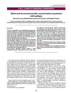 Saliva and serum lacosamide concentrations in ... - Wiley Online Library