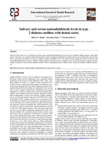 Salivary and serum malondialdehyde levels in type 2 diabetes mellitus ...