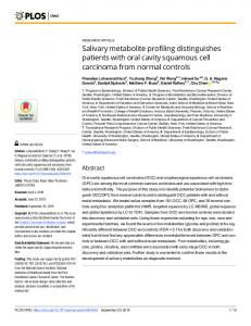 Salivary metabolite profiling distinguishes patients with oral ... - PLOS