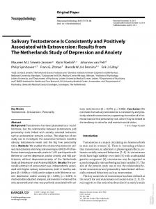 Salivary Testosterone Is Consistently and Positively ...