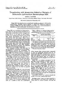 Salmonella typhimurium Bacteriophage KB1 - Journal of Bacteriology