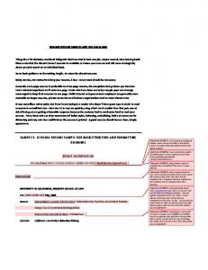 SAMPLE 1: GENERAL RESUME SAMPLE FOR BASIC ...