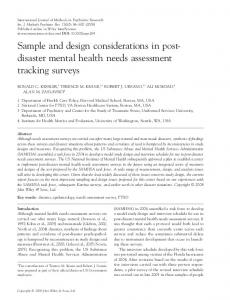 Sample and design considerations in post-disaster mental health ...