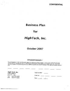 Sample Business Plan #2