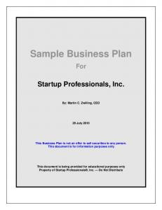 Sample Business Plan For Startup Professionals, Inc.
