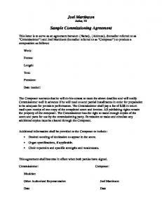 Sample Commissioning Agreement