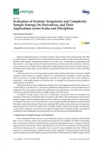 Sample Entropy, Its Derivatives, and Their Applications across ... - MDPI
