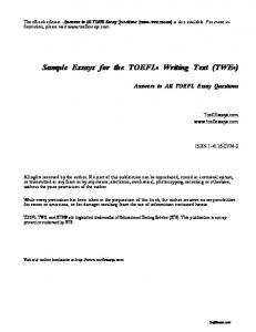 Sample Essays for the TOEFL® Writing Test - Have Fun Learning ...