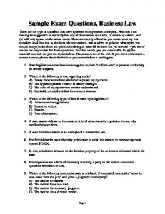 Sample Exam Questions, Business Law