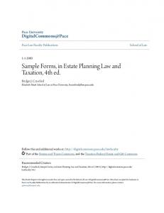 Sample Forms, in Estate Planning Law and Taxation, 4th ed.