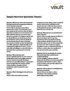 Sample Interview Questions: Finance