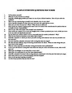 SAMPLE INTERVIEW QUESTIONS FOR NURSES