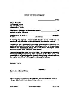 SAMPLE LETTER FOR PERMIT EXTENSION