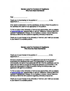 Sample Letter For Turndown Of Applicants