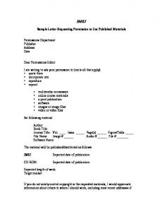 Sample Letter Requesting Permission To Use Published Materials