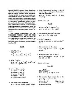Sample Math Placement Exam Questions: All questions are multiple ...