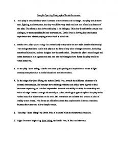 Sample Opening Paragraphs/Thesis Sentences: 1. This play is very ...