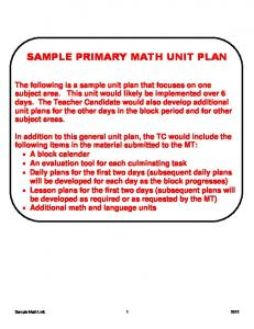 SAMPLE PRIMARY MATH UNIT PLAN