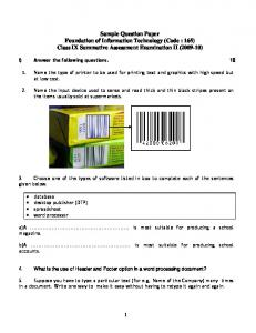 Sample Question Paper Foundation of Information Technology ...