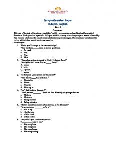 Sample Question Paper Subject- English