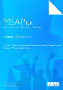 Sample Questions - (MSAP) | UK - ACER