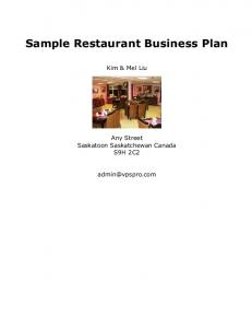 Sample Restaurant Business Plan - Onagon.com