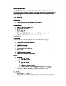 SAMPLE RESUME FORMAT Although the Federal Government ...