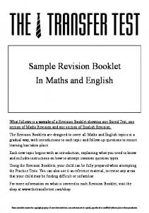 Sample Revision Booklet In Maths and English - The Transfer Test