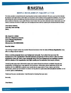 SAMPLE SCHOLARSHIP INQUIRY LETTER