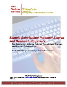 Sample Scholarship Personal Essays and Research Proposals