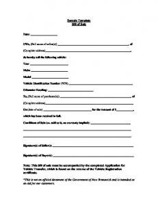 Sample Template Bill of Sale Note: This bill of sale must be ...