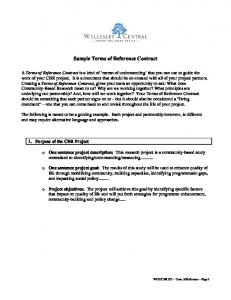 Sample Terms of Reference Contract
