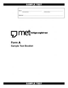 Sample Test A Test Booklet