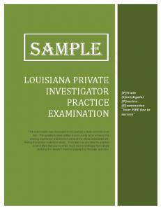 Sample Test Questions - State Private Investigator Practice ...