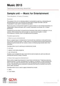 Sample unit - Music for Entertainment