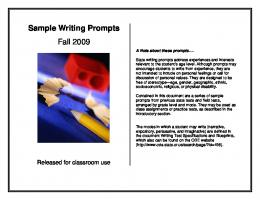 Sample Writing Prompts Fall 2009