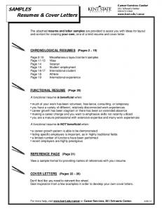 SAMPLES Resumes & Cover Letters