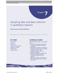 Sampling data and data collection in qualitative