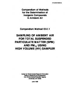 sampling of ambient air for total suspended particulate matter