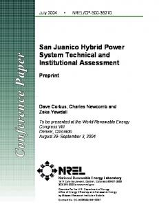 San Juanico Hybrid System Technical and Institutional ... - NREL