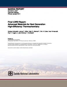 SANDIA REPORT Final LDRD Report: Advanced ...